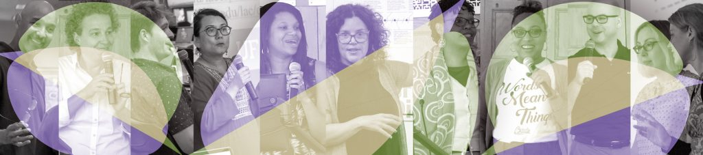 A collage of participants presenting at the institute highlighted in purple, green, and gold.